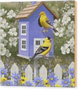 Goldfinch Garden Home Wood Print by Crista Forest