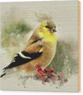Goldfinch Watercolor Art Wood Print