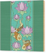 Goldfish And Lotus Wood Print
