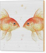 Goldfish Love Watercolor Wood Print