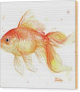 Goldfish Painting Watercolor Wood Print
