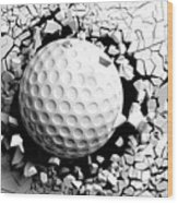 Golf Ball Breaking Forcibly Through A White Wall. 3d Illustration. Wood Print