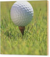 Golf Ball On Tee Wood Print