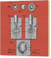 Golf Ball Patent Drawing Red Wood Print