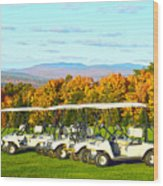 Golf Carts On Vermont Golf Course Wood Print