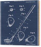Golf Club Patent 1910 Blue Wood Print