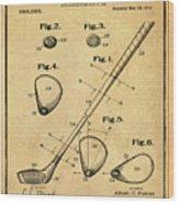 Golf Club Patent 1910 Sepia Wood Print