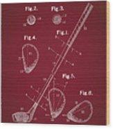 Golf Club Patent Drawing Dark Red Wood Print
