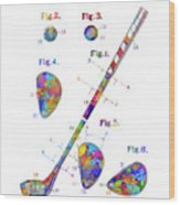 Golf Club Patent Drawing Watercolor Wood Print