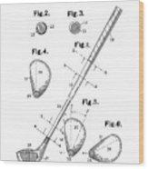 Golf Club Patent Drawing White Wood Print