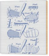 Golf Clubs Patent Drawing Wood Print