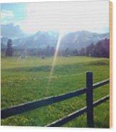 Golf Course Sun Rays Wood Print