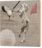 Golf Red Flag Vintage Photo Collage Wood Print