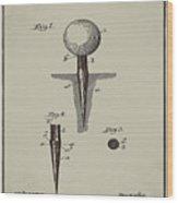 Golf Tee Patent 1899 Aged Gray Wood Print