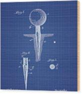 Golf Tee Patent 1899 Blueprint Wood Print