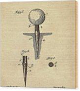 Golf Tee Patent 1899 Sepia Wood Print