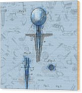 Golf Tee Patent Drawing Watercolor Wood Print