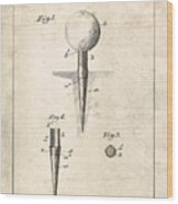 Golf Tee Patent - Patent Drawing For The 1899 G. F. Grant Golf Tee Wood Print