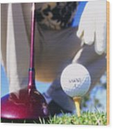 Golfer Sets Up His Shot Wood Print