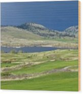 Golfing And Grazing Wood Print