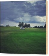 Golfing Before The Rain Golf Cart 01 Wood Print