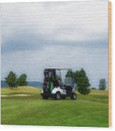 Golfing Before The Rain Golf Cart 02 Wood Print