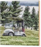 Golfing Before The Rain Golf Cart 03 Wood Print