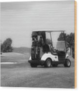 Golfing Golf Cart 06 Bw Wood Print