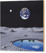 Golfing On The Moon Wood Print