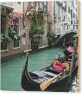 Gondola By The Restaurant Wood Print