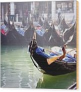 Gondola In Venice In The Morning Wood Print