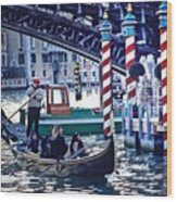 Gondola In Venice On Grand Canal Wood Print