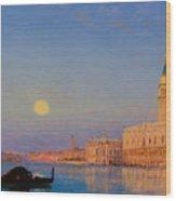 Gondola On St. Mark's Basin. Venice Wood Print
