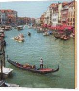 Gondola On The Grand Canal Wood Print