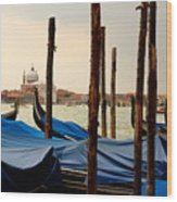 Gondolas And Poles In Venice Wood Print
