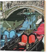 Gondolas Fresco  Wood Print