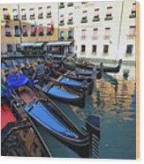 Gondolas In Orseolo Basin Venice Wood Print