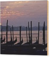 Gondolas In Venice At Sunrise Wood Print