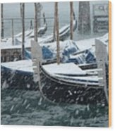 Gondolas In Venice During Snow Storm Wood Print