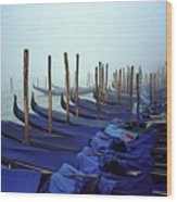 Gondolas In Venice In The Morning Wood Print