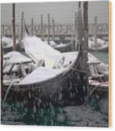 Gondolas In Venice In The Snow Wood Print