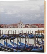 Gondolas In Venice Wood Print