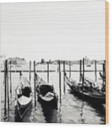 Gondolas Of Venice Wood Print