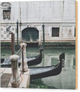 Gondolas On A Canal In Venice, Italy Wood Print