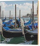 Gondolas On The Grand Canal Wood Print