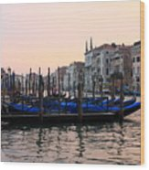 Gondolas On The Grand Canal In Venice In The Morning Wood Print
