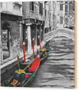 Gondolas On Venice. Black And White Pictures With Colour Detail  Wood Print