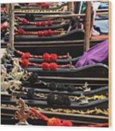 Gondolas Parked In Venice Wood Print