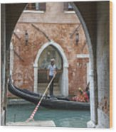 Gondolier In Frame Venice Italy Wood Print