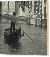 Gondolier In Venice   Wood Print